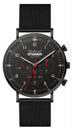 Richard Steiner Generation One Herren Chronograph, Watch Brands, Breitling, Gentleman, Accessories, Designer Clocks, Pointers, Leather Cord, Branding