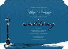 Whimsical Winter Snow Wedding Invitation by WeddingPaperie.com. #winterwedding #bluewedding