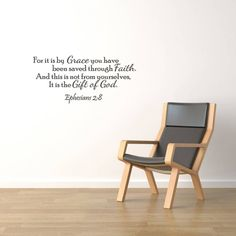 It Is By Grace Vinyl Wall Quote Decal Ephesians 2:8 God Word Scripture