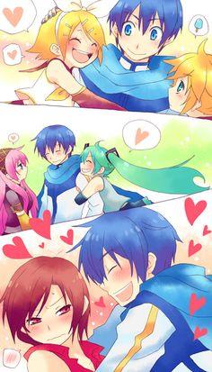 Vocaloid - KAITO  Rin, Len, Luka, Miku & Meiko