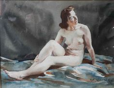 Alfred Egerton Cooper, nude water colour