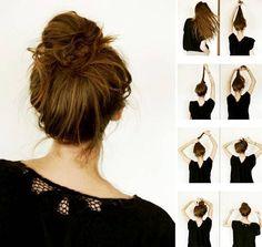 Как сделать объемный небрежный пучок на голове