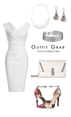 Dressy outfit for a fancy occasion. All white dress, outfit, earrings, white Purse, floral Heels pumps, after 5 dress, party outfit, all white party outfit, date night outfit. Outfit idea, style inspiration, trendy, fashion.