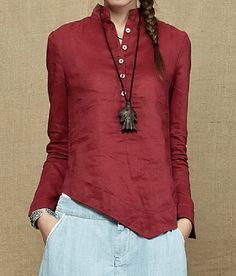 Buttons Chest Irregular Hem Linen Shirt