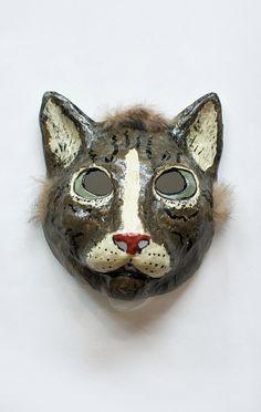 Paper Mache Cat Mask, made by Yevgeniya Kilupe.