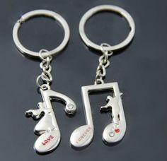MayLove Music Note Treble Clef Simple Minimalist Engraved Keychain Keyring Trinket