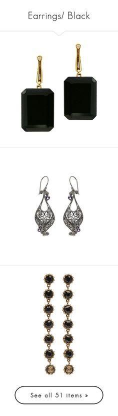 """""""Earrings/ Black"""" by thesassystewart on Polyvore featuring jewelry, earrings, black earring, brinco, onyx drop earrings, 18k jewelry, 18k gold stud earrings, emerald cut earrings, onyx earrings and amethyst"""