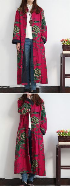 O-NEWE Vintage Women Flower Printed Chinese Frog Long Coat