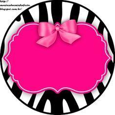 Zebra y Rosa: Etiquetas para Candy Bar para Imprimir Gratis.