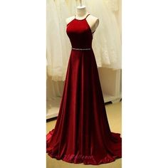 Charming High Quality Dark Burgundy Red Halter Cross Back Prom Dress... ❤ liked on Polyvore featuring dresses, gowns, long evening gowns, long gowns, burgundy prom dresses, long red gown and red dress