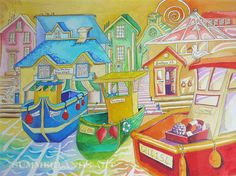 'Home' - new painting by Julia Hawker Your home? My home? The pictorial and literal references could lead you to one or both of these conclusions. If you know me well, you'll recognise a few references! - Julia x www.summerlandsart.co.uk