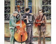 READY TO SHIP! London Street Musicians — Watercolor art print mounted on wood panel — ready to hang
