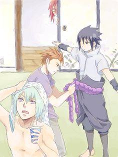 Jugo, Suigetsu, Sasuke, and Karin. I love how Sasuke was probably… Sasuke Sakura, Naruto Uzumaki, Taka Naruto, Anime Naruto, Boruto, Hinata, Naruto Team 7, Naruto Fan Art, Naruto Comic