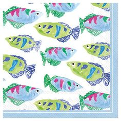 Featuring a watercolor-inspired fish print, this playful cocktail napkin adds coastal appeal to your poolside bar or patio table.   Prod...