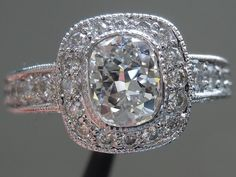 Halo Diamond Ring | Cushion Cut Diamond Ring | Old Fashioned Diamond Ring