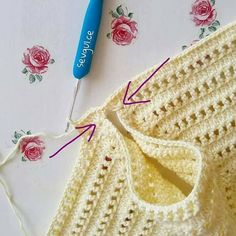 Diy Crafts - Crochet bodice for a toddler dress tutorial Crochet Baby Bibs, Crochet Yoke, Crochet Vest Pattern, Crochet Girls, Crochet Diagram, Crochet Baby Booties, Crochet For Kids, Easy Crochet, Crochet Stitches