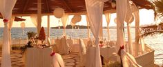 Our wedding reception venue, Rondavel at Nissi Beach Hotel, Cyprus. Wedding Reception Venues, Wedding Locations, Beach Hotels, Beach Resorts, On Your Wedding Day, Dream Wedding, Nissi Beach, Beach Lighting, Tropical Weddings