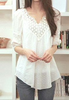 Love this shirt! Sweet Elegant Floral Crochet Lace Spliced White T-shirt Beauty And Fashion, Look Fashion, Passion For Fashion, Autumn Fashion, Fashion Outfits, Womens Fashion, Pretty Outfits, Cute Outfits, Style Feminin