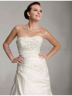 A-line Strapless Satin Chapel Train Wedding Dress with Applique and Crystal