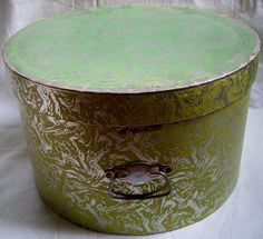 Vintage Hat Box Round 1950s Green and Silver by VintageBarrel, $18.99