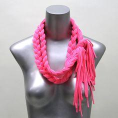 pink scarf bohemian necklace summer neon tribal por Necklush, $42,00
