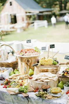 The food station, whether it's a dessert table or snack buffet, has really taken off in wedding catering for the past few years and it's easy to see the reason! Wedding Food Stations, Wedding Reception Food, Wedding Catering, Wedding Ideas, Wedding Food Tables, Rustic Wedding, Wedding Venues, Wedding Foods, Wedding Desserts