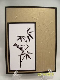 handcrafted card ... Asian Artisry ... black and white with matte gold cardstock ... luv how the embossing folder background texture echoes the bird in bamboo ... Stampin' Up!