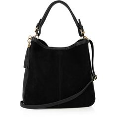 OASIS Henne Suede Hobo ($68) ❤ liked on Polyvore featuring bags, handbags, shoulder bags, black, black hobo handbags, black purse, black shoulder bag, slouch shoulder bag and slouchy hobo handbag