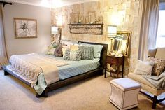 I SO want this bedroom, The wall is covered with pages of love stories