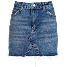 TopShop Moto Denim High Waist Pelmet Skirt ($55) ❤ liked on Polyvore featuring skirts, mini skirts, topshop, denim, mini, zipper skirt, blue mini skirt, high-waist skirt, mini skirt and blue skirt