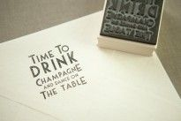 'Drink Champagne' Rubber Stamp
