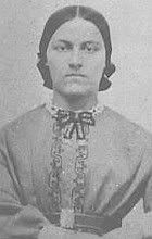 """Sallie Myers, 21 years old, nursed men in the churches and in her home in Gettysburg, 1863. She wrote in her diary: """"I would not care to live that summer again, yet I would not willingly erase that chapter from my life's experience; and I shall always be thankful that I was permitted to minister to the wants and soothe the last hours of some of the brave men who lay suffering and dying for the dear old flag."""" She ended up marrying the brother of the first soldier she tended."""