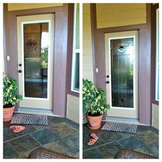 Before And After Images Of A Front Door Remodel For This Zabitat Installed