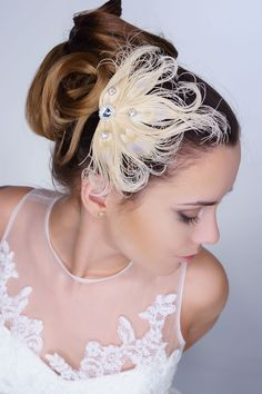 special bridal design from cream feathers