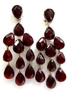#burgundy chandelier earrings - on #GossipGirl