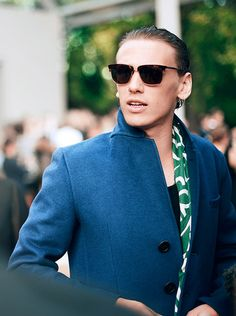 British actor Jamie Campbell Bower, wearing Burberry, arrives at the showspace at London Fashion Week S/S 2015
