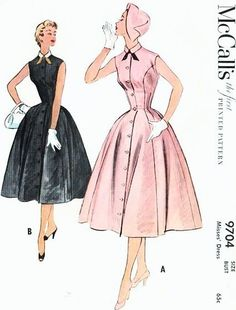1950s Lovely Princess Seam Fit n Flare Dress Pattern McCalls 9704 Front Button Sleeveless Dress Bust 32 Vintage Sewing Pattern