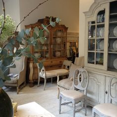 18th C Swedish cabinet & chairs with bleached Dutch glazed cabinet just arrived at Anton & K Decorative Antiques & Interiors Glos