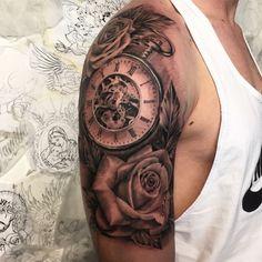 Afbeeldingsresultaat voor shoulder watch roses tattoo