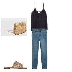 Black lace cami+jeans+mude mules+raffia chain crossbody bag. Summer Casual Date Outfit 2018