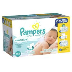 Pampers Sensitive Wipes 12x Pack 744 Count (037000884415) Less wiping for more gentle cleaning. 20% thicker versus regular Pampers wipes. Softgrip Texture for a gentle clean. The #1 choice of hospitals based on sales data. Dermatologist tested. Clinically proven mild. Perfume free and hypoallergenic.
