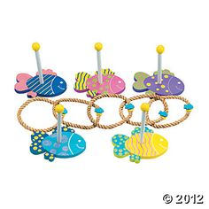 10 Pc. Under The Sea Wooden Ring Toss Game, Bean Bag & Ring Toss, Games & Activities, Toys, Games & Novelties - Oriental Trading