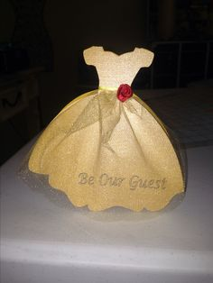 """Handmade Belle invites for a Beauty and the Beast themed party. Disney bridal shower. Princess dress. Made with my silhouette cameo. Made by Jillian and Gabrielle DeMaio. """"Holiday Decor & More """"  - website for purchase will be up soon."""