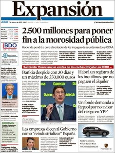 Los Titulares y Portadas de Noticias Destacadas Españolas del 7 de Febrero de 2013 del Diario Expansión ¿Que le parecio esta Portada de este Diario Español?