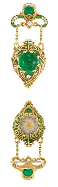 Arts and Crafts Gold, Cabochon Emerald, Diamond and Green Enamel Lapel-Watch, Marcus & Co., circa 1900. So gorgeous!