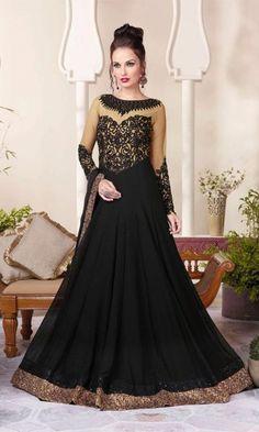 Designer Beige & Black Floor Length Anarkali Suit