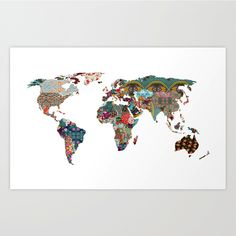 When you need a mental vacation, escape through this colorful map of the world. The design was inspired by fabrics and textiles found around the world for a truly international look. Your home will pop with adventure with this gallery quality art print, created using archival paper and inks.
