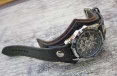 Leather Watch Men's Watch Steampunk Watch Black Watch