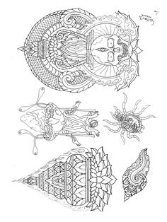 Paradise Tattoo, Gangsta's Paradise, Tibet Art, Oriental Tattoo, Irezumi, Design Show, Indian Art, Line Drawing, Vintage World Maps