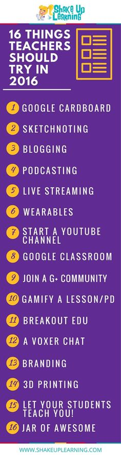 The post 16 Things Teachers Should Try in 2016 [infographic] appeared first on Shake Up Learning.   16 Things for Teachers to Try in 2016! #edtech #gafe #googleedu Click To Tweet    16 Things for Teac